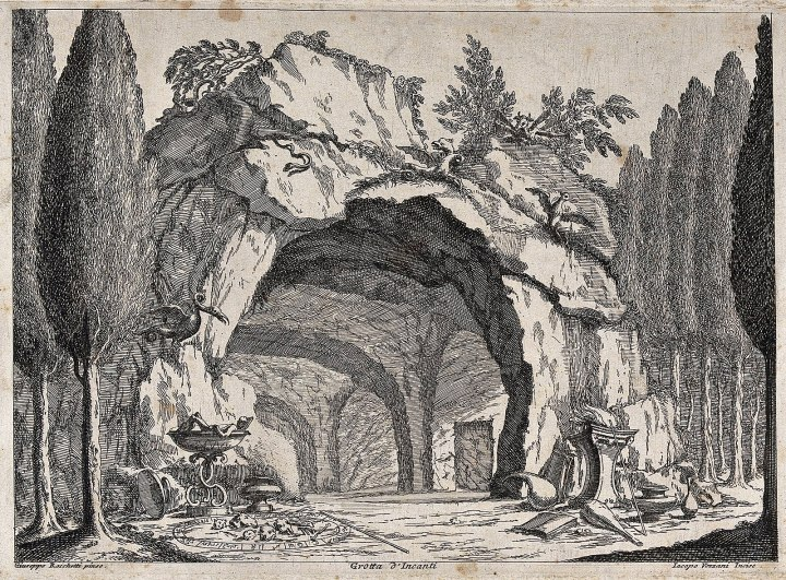 A_grotto_containing_a_magic_circle,_books_and_mythical_creat_Wellcome_V0025853